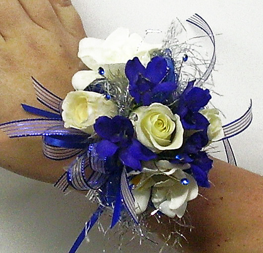 Prom flowers designed for the dress royal silver and white wrist corsage by twigs mightylinksfo