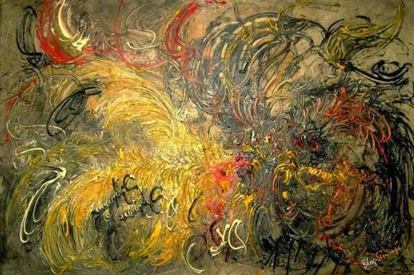 Karya Lukisan Affandi Ayam Tarung