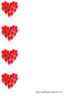 Hoja corazones formados por globos
