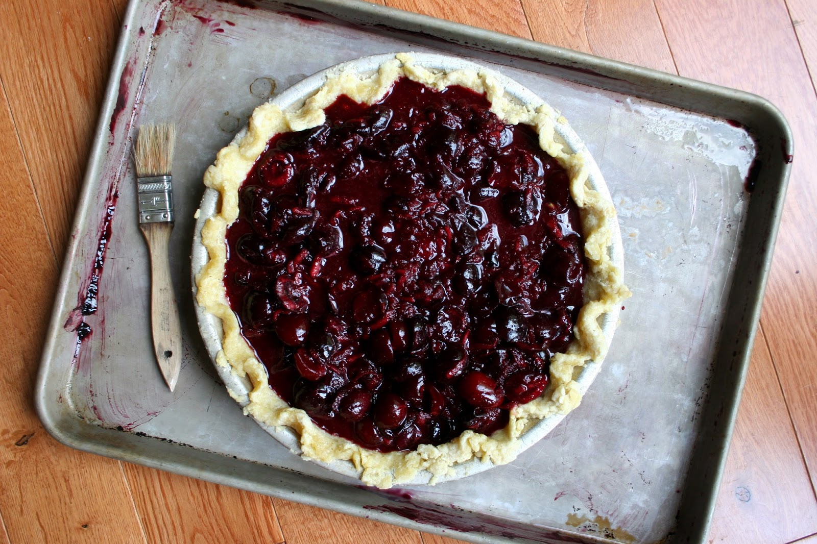 Sweet Cherry Pie with Cornmeal Streusel, Pre-Bake
