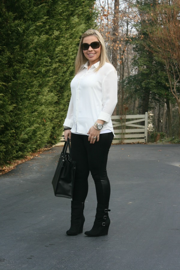 Studded Collar Button Up from Forever 21, Black Stripe Leggings from Zara, Buckled Wedge Boots from Forever 21, Salvatore Ferragamo Briana Large Tote, Burberry Oversized Round Check Sunglasses, Michael Kors Silver Color Golden Stainless Steel Camille Chronograph, David Yurman Silver and Black Onyx Ring