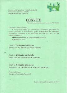 CONVITE PARA FORMAÇÃO MISSIONÁRIA PAROQUIAL