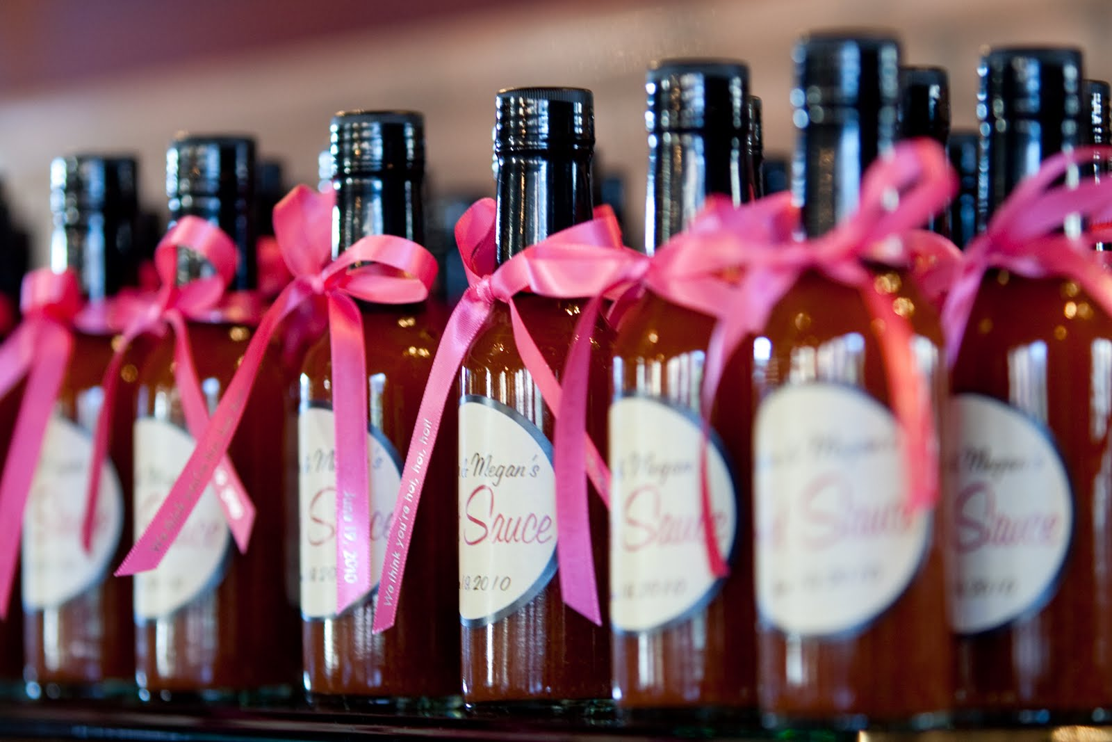 Mini hot sauce wedding favors