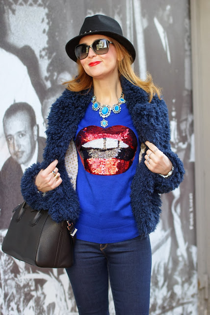 faux fur jacket, Givenchy Antigona bag, Markus Lupfer inspired jumper, Fashion and Cookies, fashion blogger