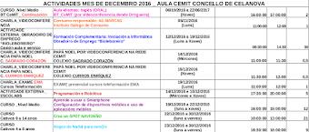 LISTADO ACTIVIDADES      Decembro 2016