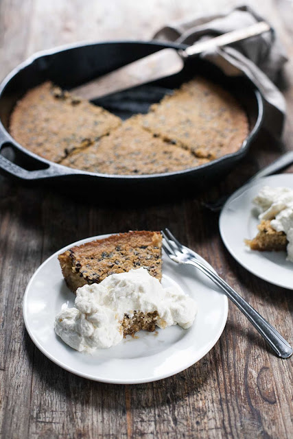 Featured Recipe | Brown Butter Cacao Nib Skillet Cake from A Calculated Whisk #SecretRecipeClub #recipe #dessert #castiron #glutenfree #chocolate