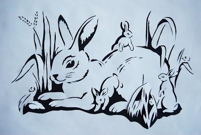 вытынанка Заячье семейство, зайцы, кролики, вырезалка, мама кролик вырезалка, вытынанка просто