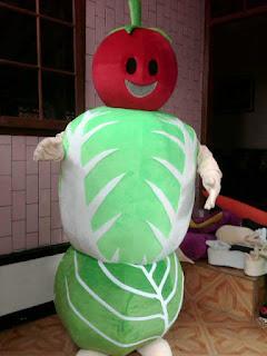 kostum jakarta, maskot sayur mayur kubis tomat sawi