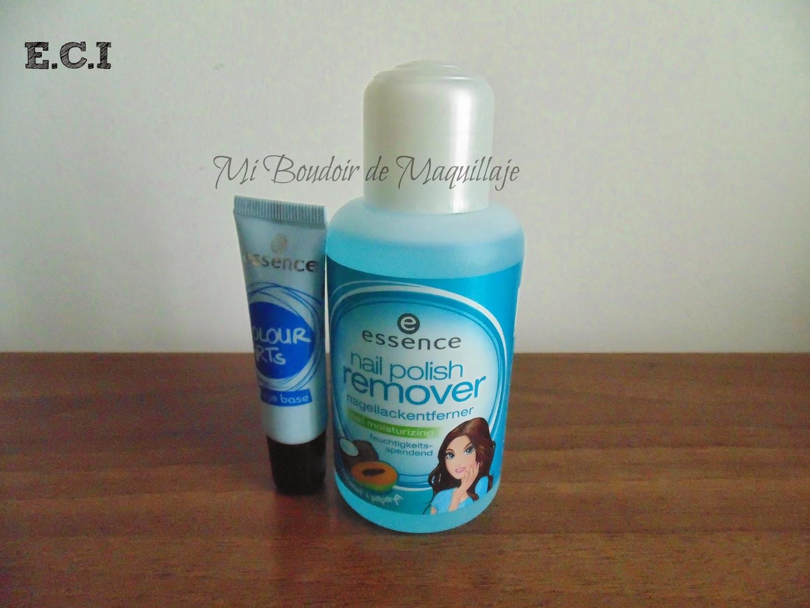 Essence quitaesmalte y base para pigmentos glitter glue