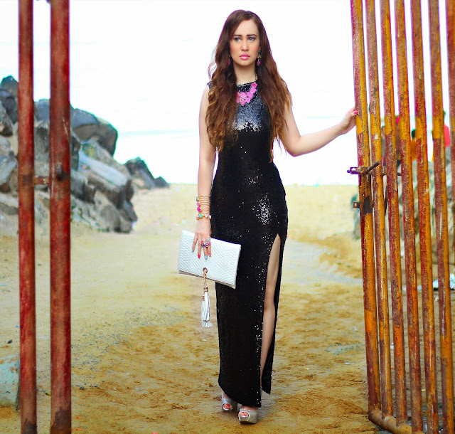 Black Sequin Gown with thigh-high slit, Semi-Precious Jewelry, Silvette, Silver Tassel Clutch
