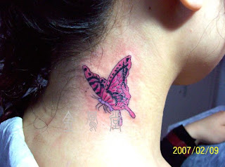 Pink Color Butterfly Tattoo on Neck