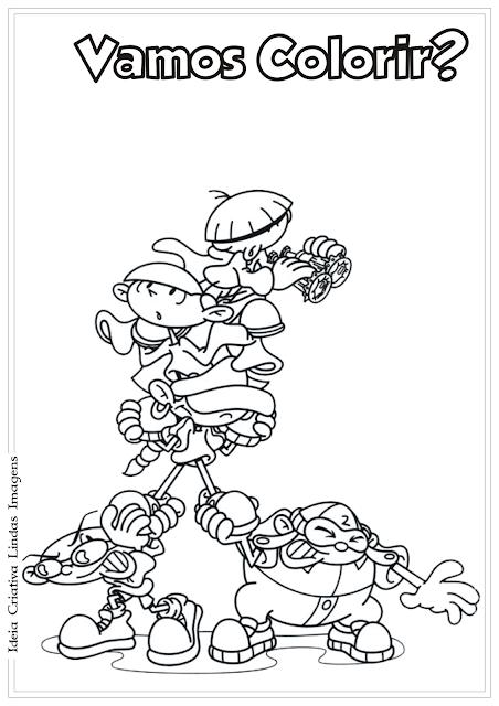 A Turma do Bairro desenho para colorir