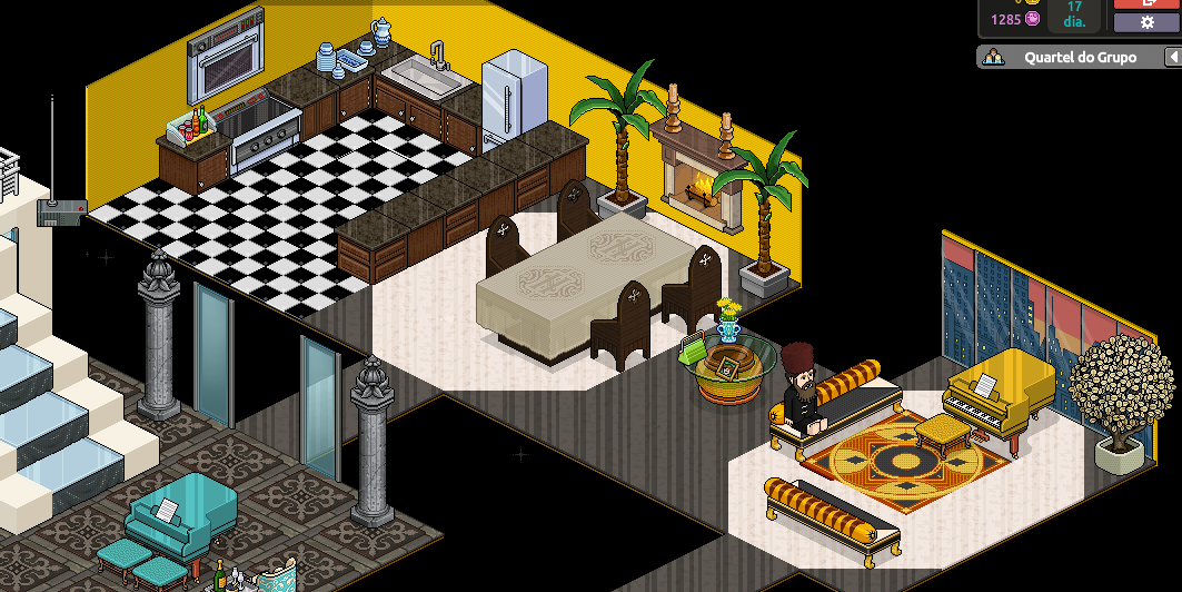 Nota se um espa o bastante amplo com sala de piano hall de for Sala de estar habbo