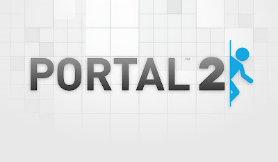 The Portal 2 logo with a man coming out of a portal, placed on top of a clean white background.