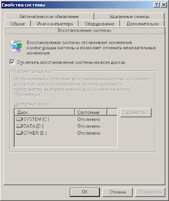 Отключить восстановление системы на всех дисках