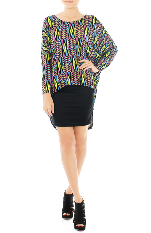 Psychedelic Aztec Dip Back Blouse – Neon Yellow