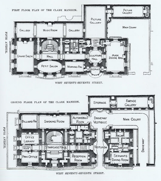 The gilded age era the william a clark mansion new york for Mansion floor plans with ballroom