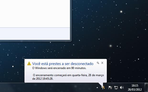 mensagem windows desligamento programado