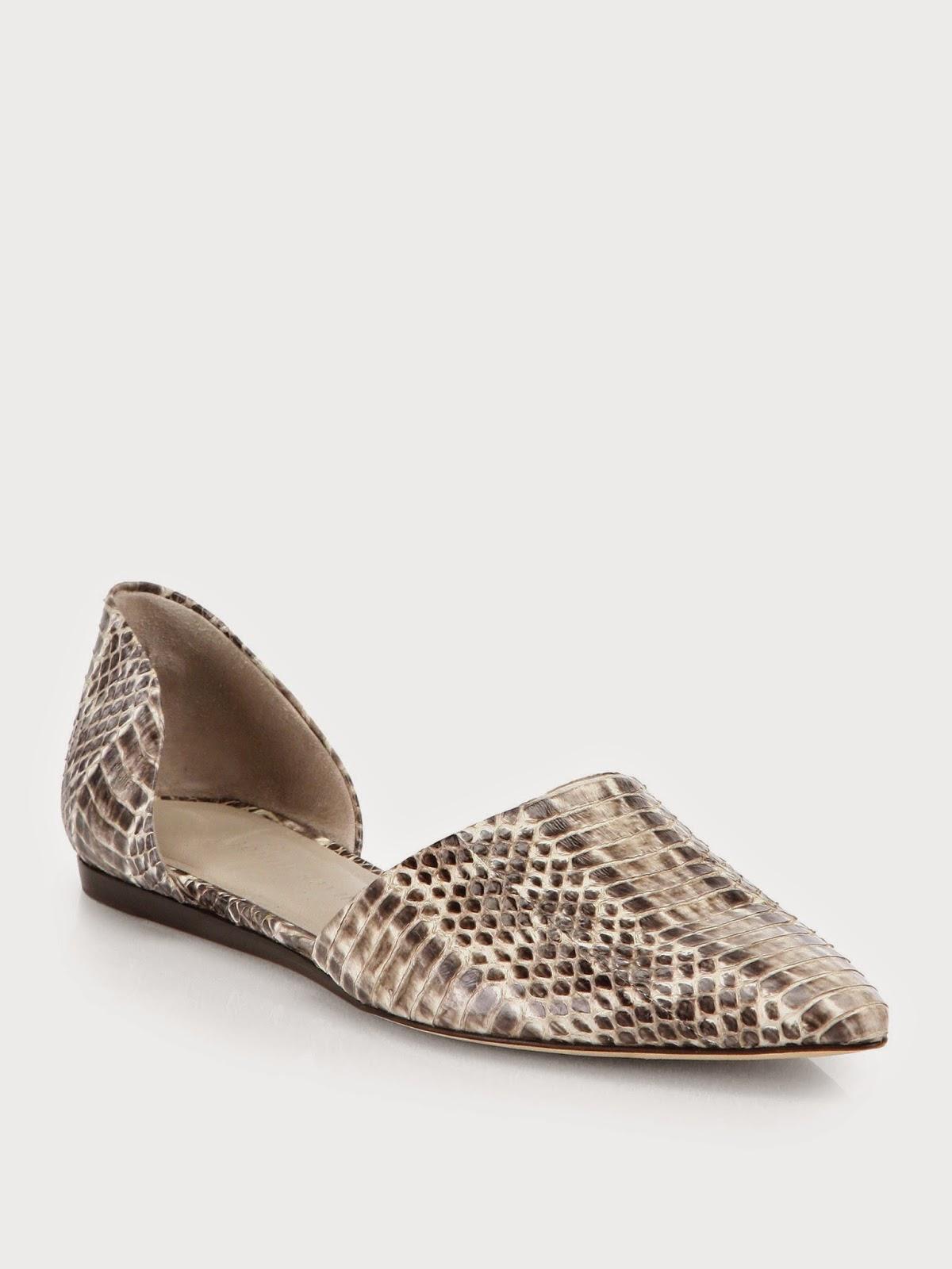Saks Fifth Ave Jenni Kayne snake embossed leather d'Orsay flats