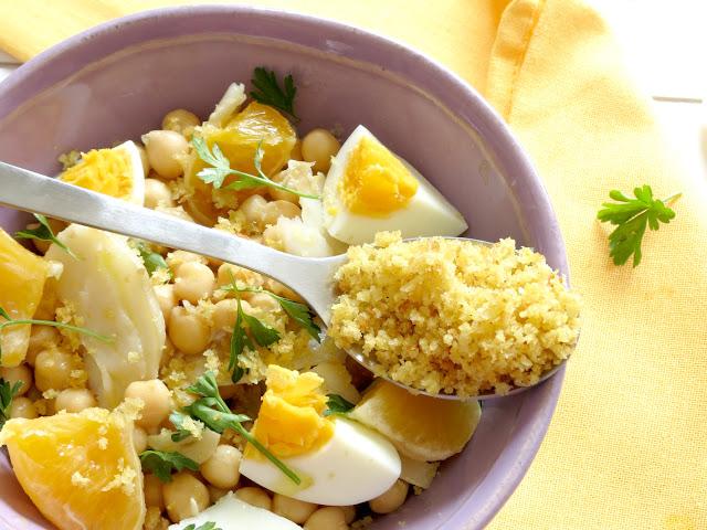 salada de bacalhau e grão
