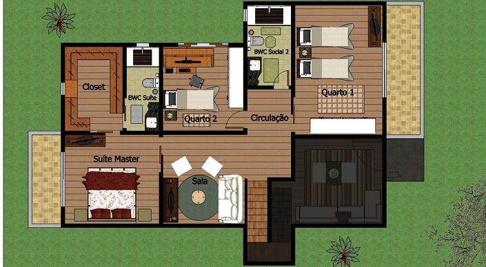 planta de duplex com 3 quartos