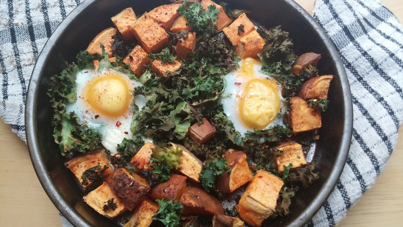 one pot recipe breakfast baked eggs with sweet potato paprika and kale