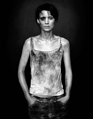 Rooney Mara with her skinny body and goth hairstyle and excessive piercings