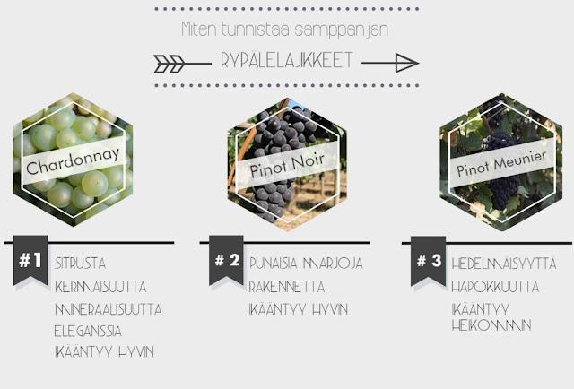 Miten tunnistaa samppanjan rypälelajikkeet - www.blancdeblancs.fi