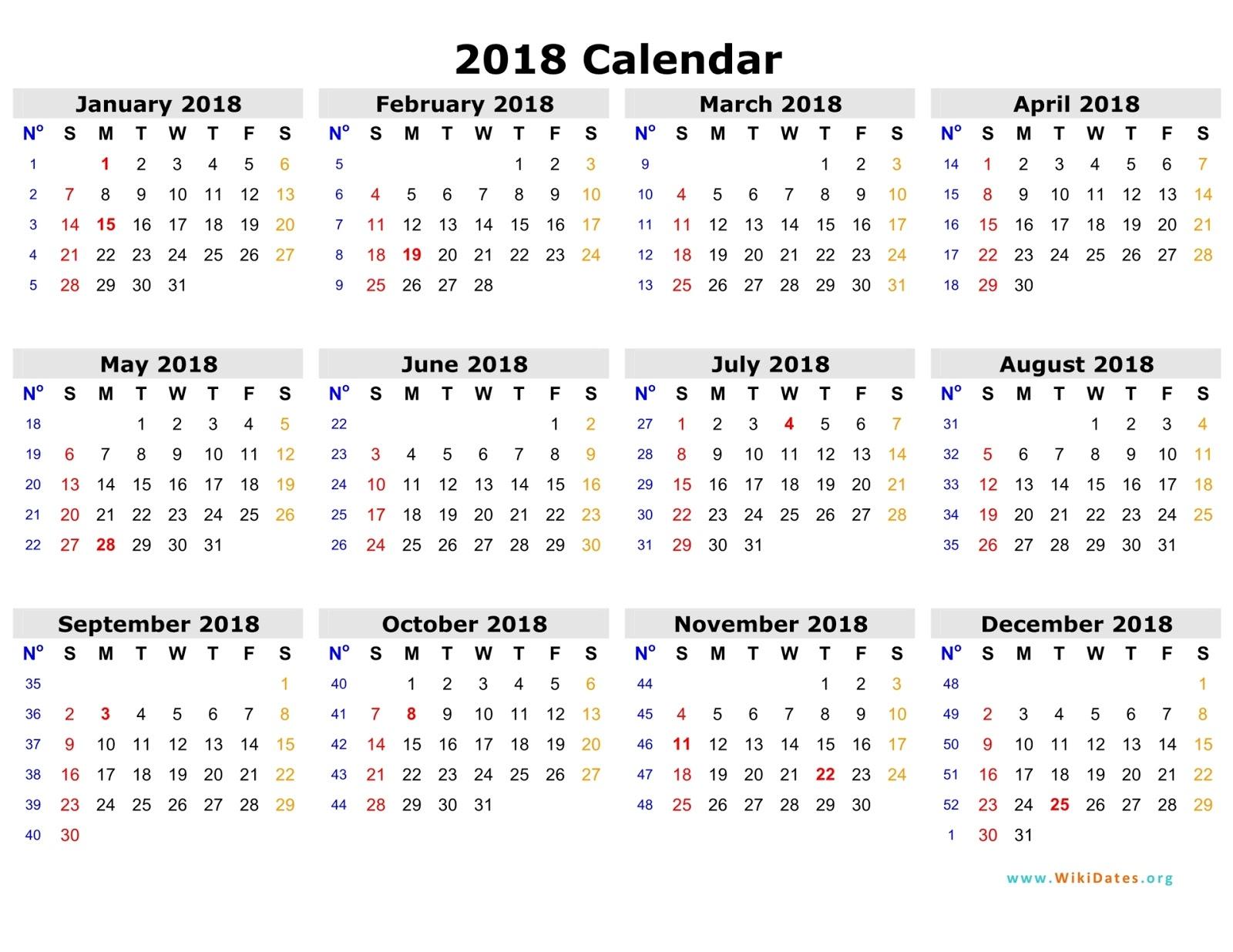 Free 2018 Calendar in Printable Format - Blank Templates - Webelator