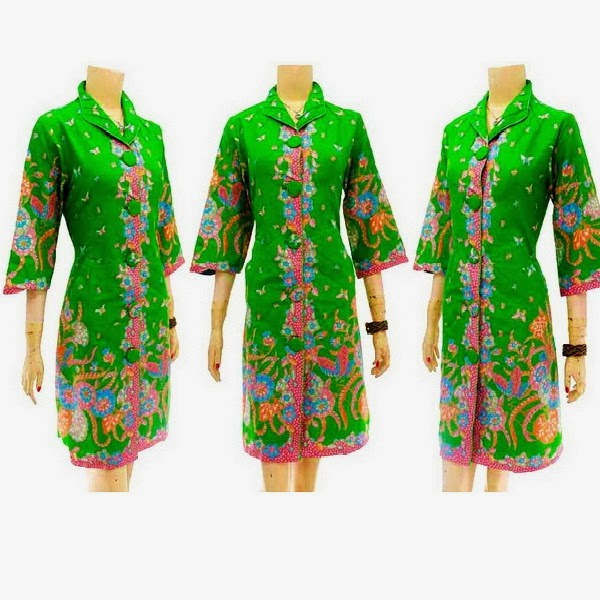 DB3719 Mode Baju Dress Batik Modern Terbaru 2014