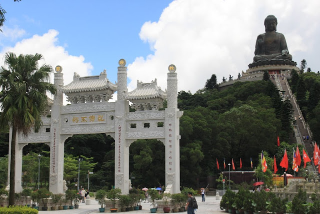 The Big Buddha statue (Tian Tan Buddha) is located nearby Ngong Ping Piazza in Ngong Ping Village in Hong Kong