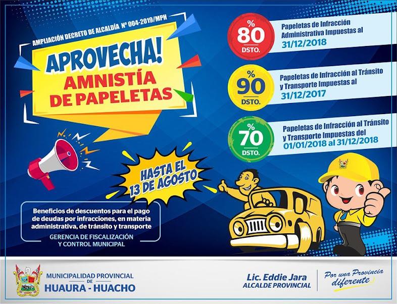 APROVECHA AMNISTÍA DE PAPELETAS.