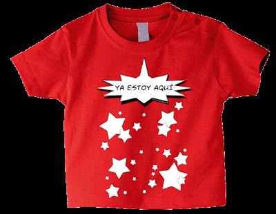 """Camiseta manga corta para bebé """"Ya estoy aquí"""" color rojo"""