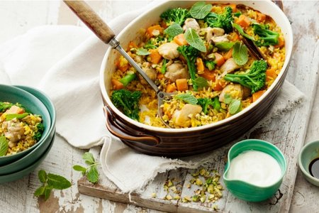 Heat the oil in a large casserole pan over high heat Persian rice baked with chicken, kumara and broccolini recipe