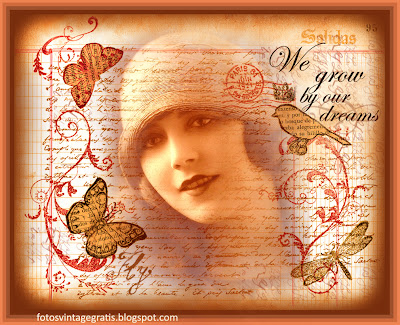 fondo vintage con chica de los años veinte, libélula, pájaro coronado y mariposas