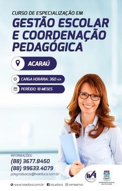 CURSO DE ESPECIALIZAÇÃO EM GESTÃO ESCOLAR E COORDENAÇÃO PEDAGOGICA