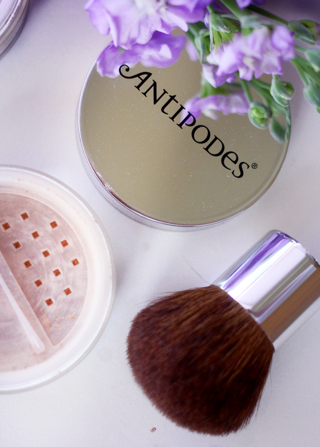 A beauty review of Antipodes Mineral Foundation featuring their Translucent Finishing Powder and Kabuki Brush