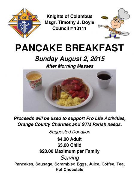 field trip mom   pancake breakfast august 2nd  2015 st
