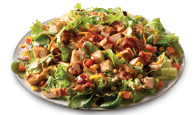 The BBQ Ranch Chicken Salad features fire-roasted corn, diced tomatoes ...