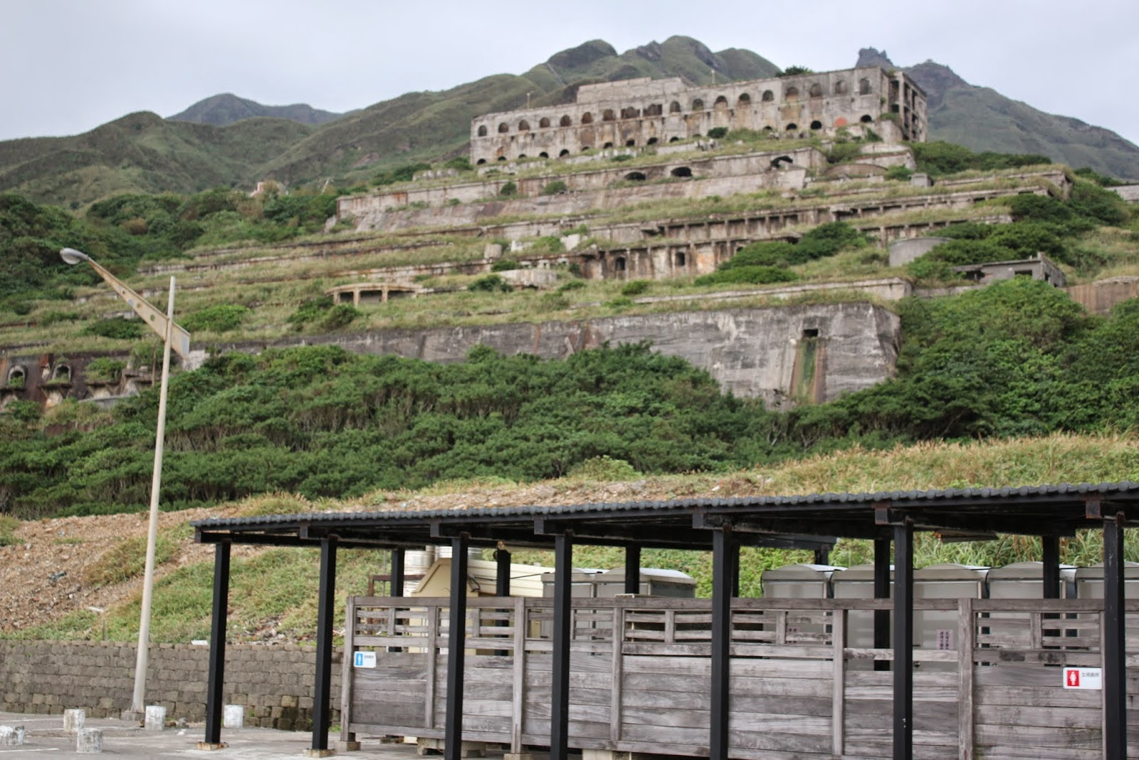 13 layer Heritage Site (terminal destination) for processing ore and copper during Japanese colonial nearby  Jiufen in Taiwan