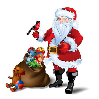 Papa Noel y su bolsa de juguetes para todos los niños