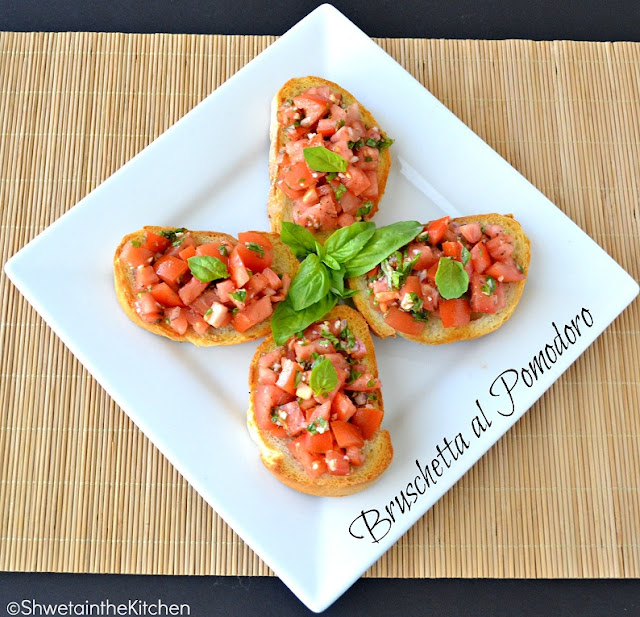 tomato & basil bruschetta - bruschetta al pomodoro