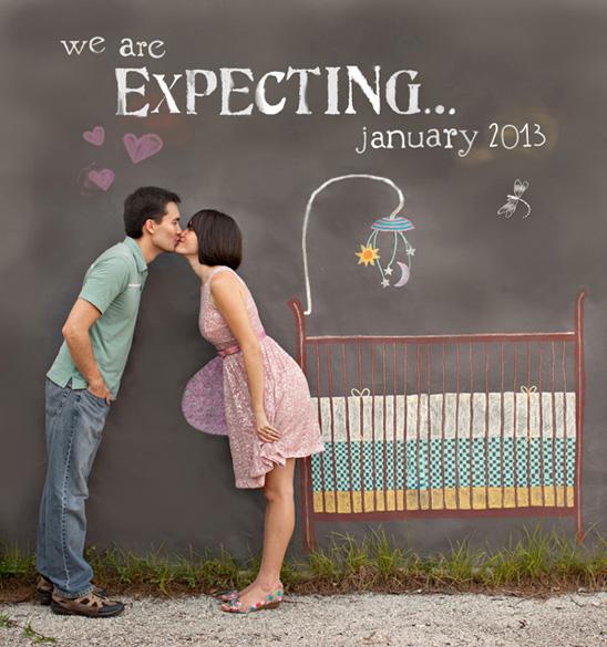 Ensaio fotográfico criativo anunciando a gravidez