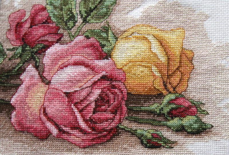 Вышивка срезанные розы дименшенс 75