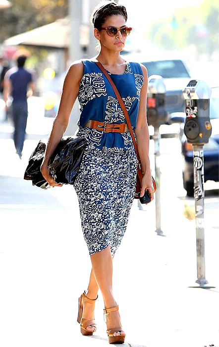 Eva Mendes In Printed Dress While Outing In Sunny La