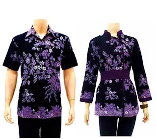Foto Baju Batik Couple Ungu