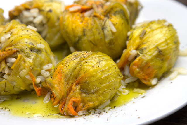 Stuffed courgettes flowers Mediterranean Diet, Monastic Recipes of Mount Athos.
