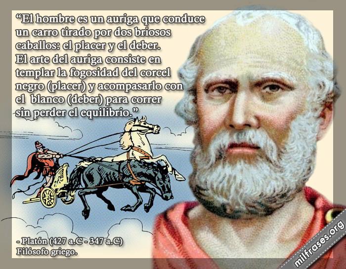 frases de platón, la auriga y el caballo blanco del deber y negro del placer