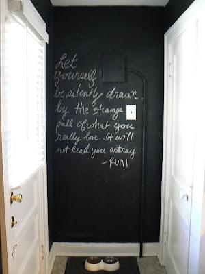mylittlehousedesign.com kitchen painted black chalkboard wall