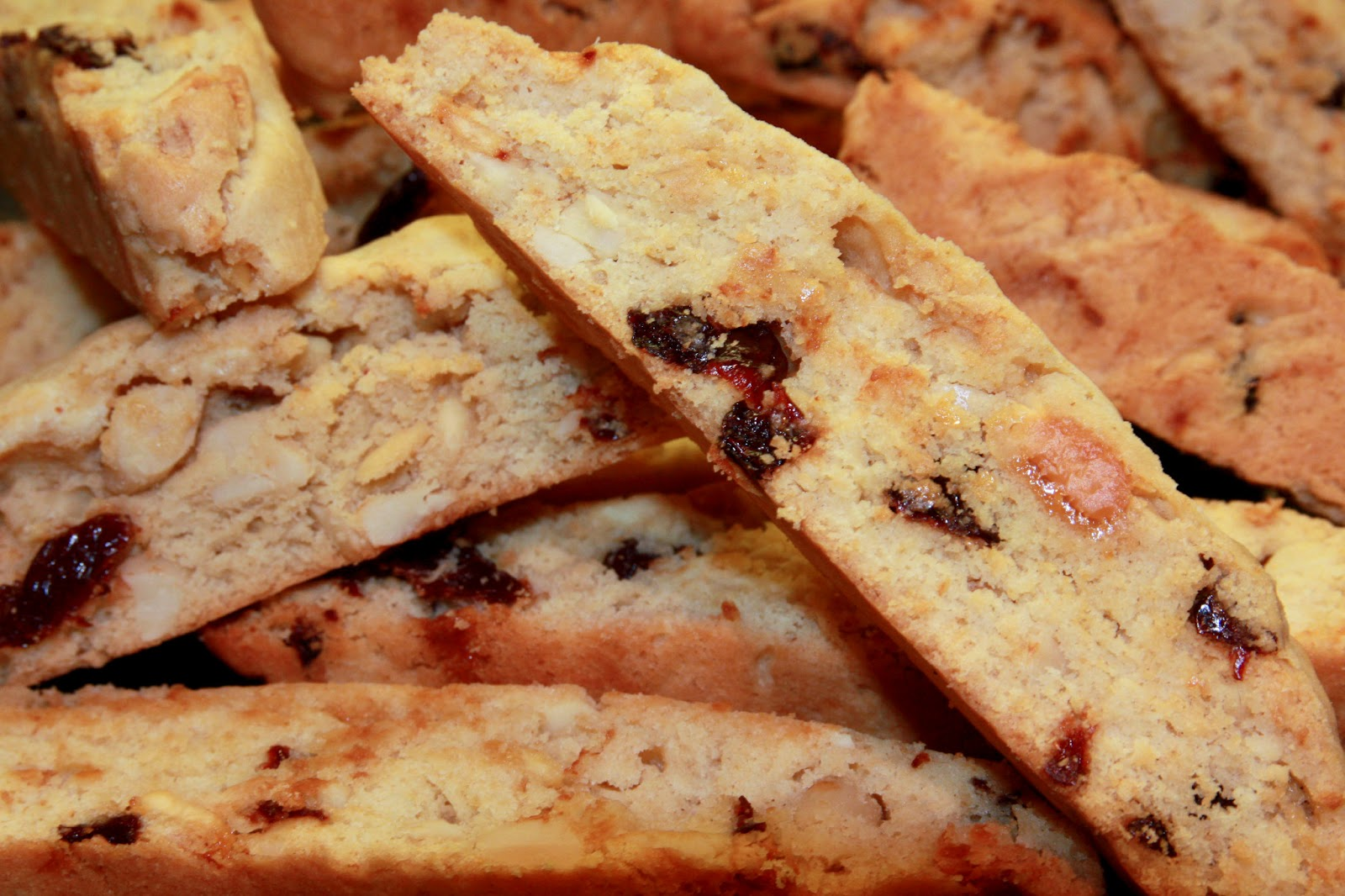 White chocolate, sour cherry and almond biscotti, Christmas baking ...